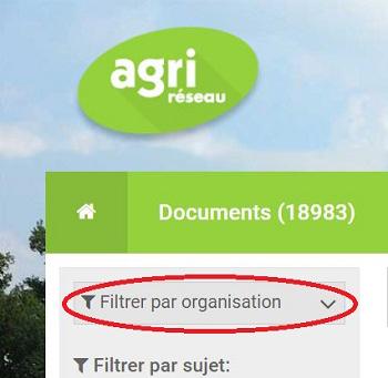 Filtre « par organisation » sur Agri-Réseau